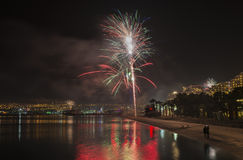 Festive firework at central beach of Eilat Royalty Free Stock Photography