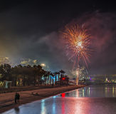 Festive firework at central beach of Eilat Royalty Free Stock Photos