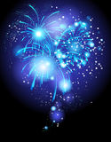 Festive firework. Deep blue festive firework background Royalty Free Stock Photo