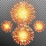 Festive firework effect. EPS 10 vector. Festive Firework Salute Burst effect. Collection of fireworks, sparklers, salute explosions - design elements. Festival Royalty Free Stock Photos