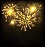 Festive Firework Salute Burst on Black Royalty Free Stock Images