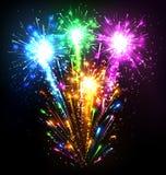 Festive Firework Salute Burst on Black Royalty Free Stock Photography