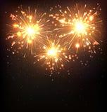 Festive Firework Salute Burst on Black Royalty Free Stock Image