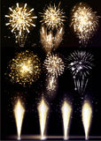 Festive Firework Salute Burst on Black Background. Collection of Colorful vector fireworks, sparklers, salute  Stock Image