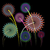 Festive Firework Salute Burst on Black Background. Vector illustration Royalty Free Stock Image