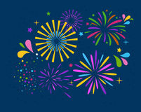 Festive Firework Salute Burst on Blue. Background Stock Photography