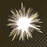 Festive Firework Salute Burst on Transparent Background. Festive Firework Salute Burst. White glowing light burst explosion with transparent. Vector illustration Stock Image