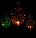 Festive firework three different color shape pine. Festive firework different color shape pine bursting sparkling set  black background - vector Stock Photography
