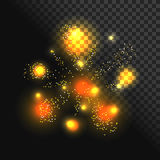 Festive firework vector with glowing sparkles. Festive firework vector with glowing gold sparkles. Exploding light sparks. Burning flash Royalty Free Stock Image