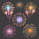 Festive firework vector set on checkered dark background. Firework bright set illustration, explosion firework abstract Stock Photography