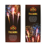 Festive firework 2 vertical banners set. With sparkling star balls against black background abstract vector isolated illustration Royalty Free Stock Images