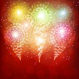 Red background with fireworks. Red background with brights fireworks. Festive illustration royalty free illustration