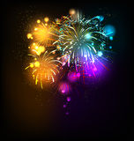 Festive fireworks. Background with place for text Royalty Free Stock Photography