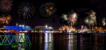 Festive fireworks on the beach of Eilat city Royalty Free Stock Images