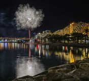 Festive fireworks on the beach of Eilat city, Israel Stock Photo