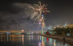 Festive fireworks on the beach of Eilat city, Israel Royalty Free Stock Image