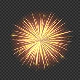 Festive fireworks with bright golden sparks. Realistic single firework flash isolated on transparent background. Colorful vector element for posters decoration stock illustration