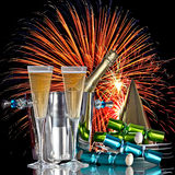 Festive Fireworks Celebration Champagne Wine. Festive Holiday Fireworks Celebration, Champagne Wine Cooler Bucket With Bottle, Party Hat, Favors and Romantic New Royalty Free Stock Image