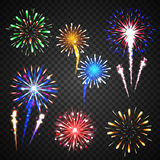 Festive fireworks collection of different colors. And shapes isolated  on transparent background. vector illustration Royalty Free Stock Photo