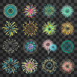 Festive Fireworks On Dark Transparent Background. Set of  brightly celebration firework balls on dark transparent background flat vector illustration Stock Image