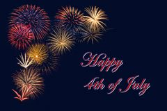 Festive fireworks display for Happy 4th of July celebration. Festive fireworks display for a Happy 4th of July celebration. Dark blue night sky background stock image