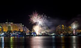 Festive fireworks in Eilat city, Israel Stock Photography