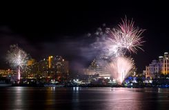 Festive fireworks in Eilat, Israel Royalty Free Stock Photography