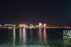 Festive fireworks at Eilat, Israel Royalty Free Stock Photography