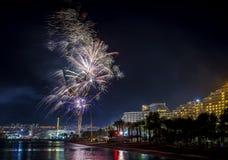 Festive fireworks in Eilat Stock Image