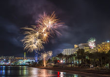 Festive fireworks in Eilat Royalty Free Stock Image