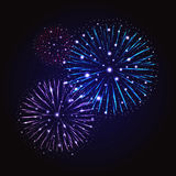 Festive Fireworks. Holidays Background. Night sky, Celebrating Vector Illustration Royalty Free Stock Image