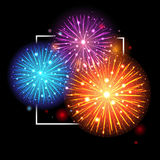 Festive Fireworks. Holidays Background. Night sky, Celebrating Vector Illustration Royalty Free Stock Photos