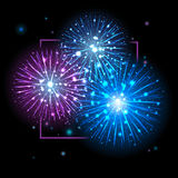 Festive Fireworks. Holidays Background. Night sky, Celebrating Vector Illustration Royalty Free Stock Photo