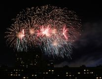 Festive fireworks in honor of Moscow city day Stock Photography