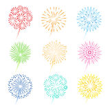Festive fireworks icons. Festive fireworks vector illustration. Celebration fireworks colorful icons on white background Royalty Free Stock Image