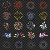 Festive fireworks isolated on transparent background. Brightly, colorful and monochrome celebration firecrackers. Vector Royalty Free Stock Photography