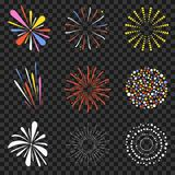 Festive fireworks isolated on transparent background. Brightly, colorful and monochrome celebration firecrackers. Vector Royalty Free Stock Image