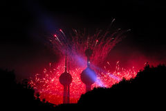 Festive Fireworks At The Kuwait Towers. Night Lights Up With The Festive Fireworks At The Kuwait Towers In The Middle East Stock Photo