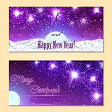 Festive fireworks, mountains and sample text layout . Stock Photography