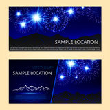 Festive fireworks, mountains and sample text layout .Vector. Stock Image