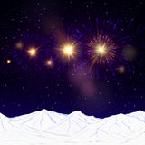 Festive fireworks and mountains .Vector. Stock Images