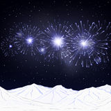 Festive fireworks and mountains .Vector. Royalty Free Stock Photography