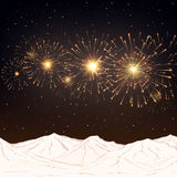 Festive fireworks and mountains .Vector. Royalty Free Stock Photos