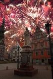 Festive fireworks at night in Riga. royalty free stock photos