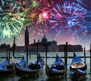 Festive fireworks over the Canal Grande in Venice Stock Photography