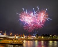 Festive fireworks over the Moscow Kremlin Stock Image