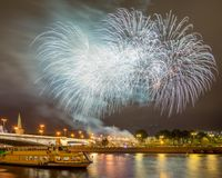 Festive fireworks over the Moscow Kremlin Royalty Free Stock Image