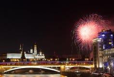 Festive fireworks over the Moscow Kremlin Stock Photos