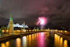 Festive fireworks over the Moscow Kremlin Royalty Free Stock Images