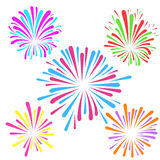 Festive fireworks pattern template layout. Colorful explosion isolated. Vector illustration Stock Images